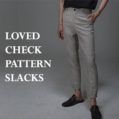 LOVED CHECK PATTERN SLACKS(BLACK/BEIGE)