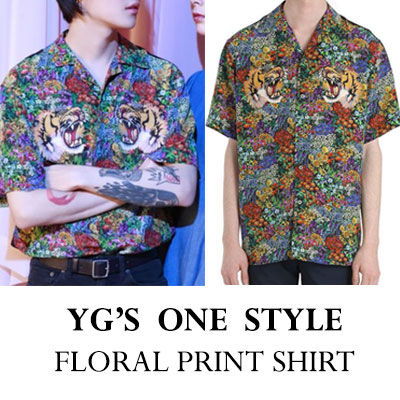 YG'S ONE STYLE! TIGER FLORAL PRINT SHIRT