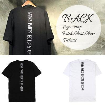 BLACK LOGO STRAP PATCH SHORT SLEEVE T-SHIRTS