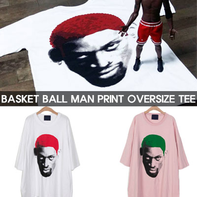 BASKETBALL MAN PRINT OVER SIZE SHORT SLEEVE T-SHIRTS