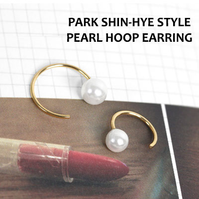 PARK SHIN-HYE STYLE! PEARL HOOP EARRING(1EA)