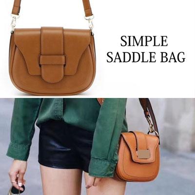 SIMPLE SADDLE CROSS BAG(CARMEL/MUSTARD/BEIGE/NAVY/BLACK)