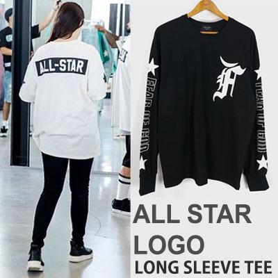 ALL STAR LOGO PRINT LONG SLEEVE T-SHIRTS(BLACK/WHITE)