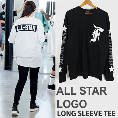 ALL STAR LOGO PRINT LONG SLEEVE T-SHIRTS(BLACK/WHITE)