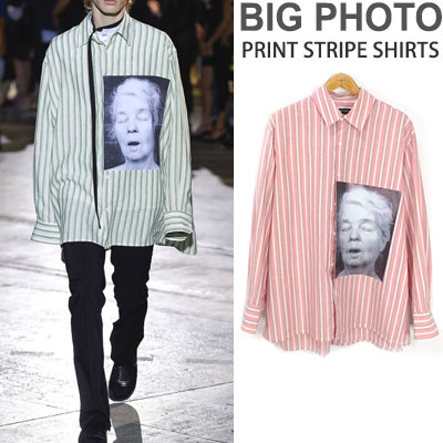 BIG PHOTO PRINT STRIPE SHIRTS(GREEN/PINK)