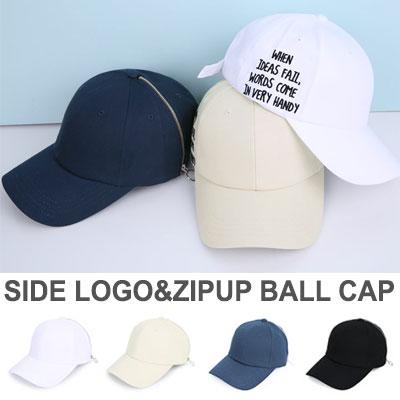 SIDE LOGO&ZIPUP BALLCAP(WHITE/BEIGE/NAVY/BLACK)