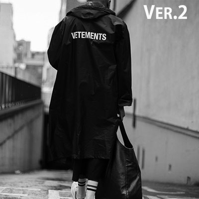 (VER2)BACK LOGO POINT OVERSIZE RAINCOAT(BLACK)
