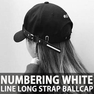 NUMBERING WHITE LINE LONG STRAP BALLCAP