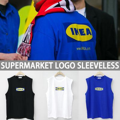 SUPERMARKET LOGO POINT SLEEVELESS T SHIRTS(WHITE/BLACK/BLUE)