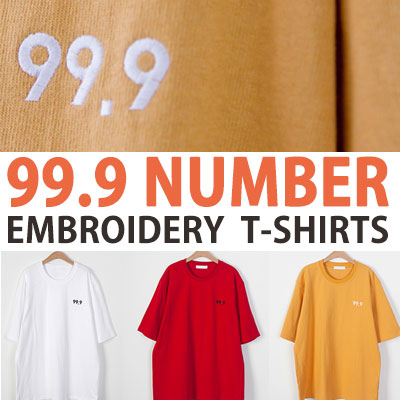 99.9 NUMBER EMBROIDERY SHORT SLEEVE T-SHIRTS(WHITE/YELLOW/RED)