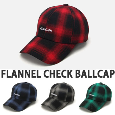 FLANNEL CHECK ATTENTION LOGO BALL CAP(RED/GREY/GREEN/NAVY)
