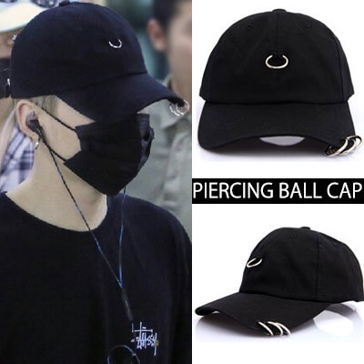 [BTS 防弾少年団 SUGA/BIGBANG SOL!] PIERCING BALL CAP(BLACK,WHITE)