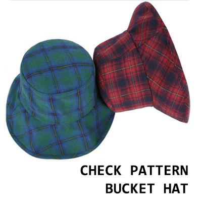 CHECKPATTERN OVER BUCKET HAT(WHITE/RED/BLUEGREEN/GREY)