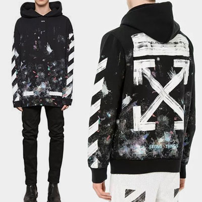 [high  quality]BLACK BRUSH ARROW PRINT PULLOVER HOODIE(BLACK)