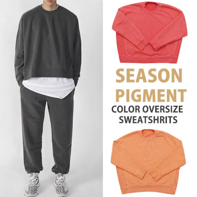 KANYE SYTLE! HIGH QUALITY SEASON PIGMENT COLOR OVERSIZE SWEATSHIRTS(PINK/ORANGE/CHARCOAL)