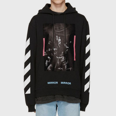 PINK TAPE POINT&BLUE LETTERING PULLOVER HOODIE(BLACK/WHITE)