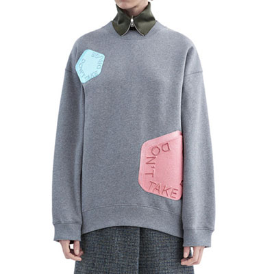 AC style multi embroidered patch loose fit sweatshirt (Grey, Black)