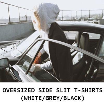 【FEMININE : BLACK LABEL】 OVERSIZED SIDE SLIT HOODIE(BLACK/GREY/WHITE)