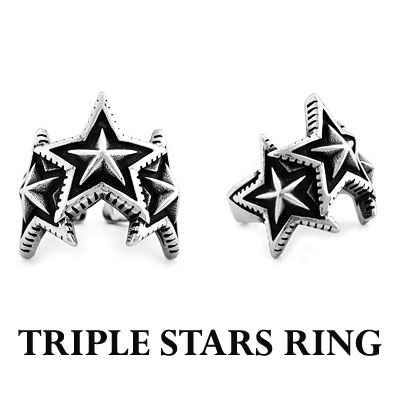 UNIQUE TRIPLE STARS RING