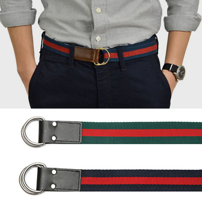 2TONE COLOR LEATHER COTTON D RING BELT