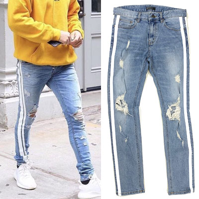 JUSTIN BIEBER st.WHITE LINE TWO STRIPE DESTROYED BLUE JEANS