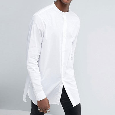 WHITE CHINA NECK UNBALANCE LONG SHIRTS
