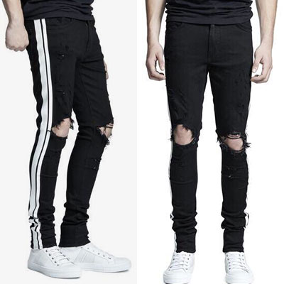 JUSTIN BIEBER st.WHITE LINE TWO STRIPE DESTROYED BLACK JEANS