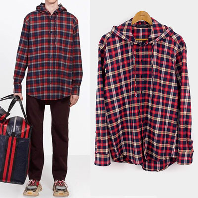 BLUE RED CHECK HOODIE SHIRTS
