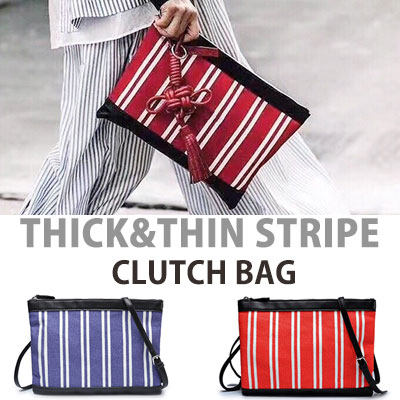 THICK&THIN STRIPE CLUTCH BAG
