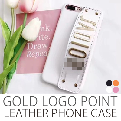 GOLD LOGO POINT LEATHER PHONE CASE