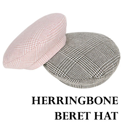 60'S SYTLE HERRINGBONE BERET HAT(BROWN/BLACK-CHARCOAL/BLACK-WHITE/PINK)