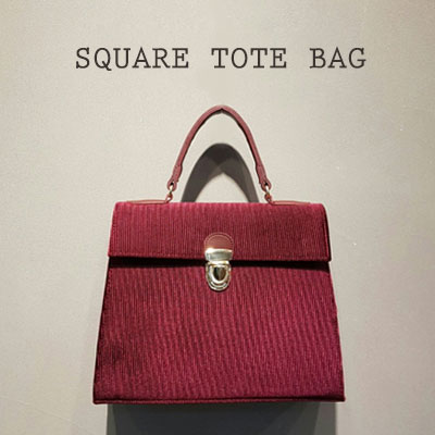 SQUARE TOTE BAG(BLACK/CAMEL/BEIGE/WINE/GREY)