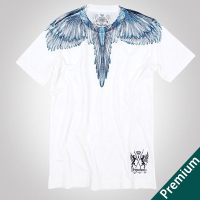 [Premium]BLUE FEATHER PRINT SHORT SLEEVE T-SHIRTS