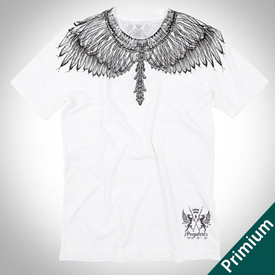 [Premium][Unisex]DRAWING FEATHER PRINT WHITE SHORT SLEEVE T-SHIRTS