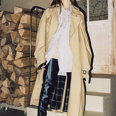 【FEMININE : BLACK LABEL】CHECK PATTERN TRENCH COAT(CAMEL BEIGE)