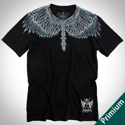 [Premium][Unisex]DRAWING BLUE FEATHER BLACK SHORT SLEEVE T-SHIRTS