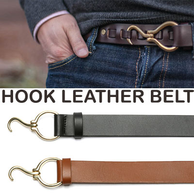 HOOK LEATHER BELT/2COLORS