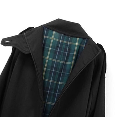 【FEMININE : BLACK LABEL】CHECK PATTERN TRENCH COAT(BLACK)