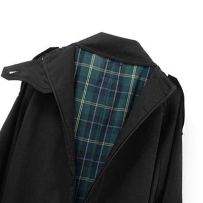 【FEMININE : BLACK LABEL】CHECK PATTERN TRENCH COAT(BLACK)