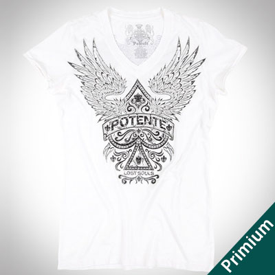 [FEMININ][COTTON100%]SPACE WING PRINT WHITE SHORT SLEEVE T-SHIRTS