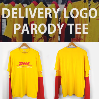 DELIVERY LOGO PARODY LAYERED LONG SLEEVE T-SHIRTS