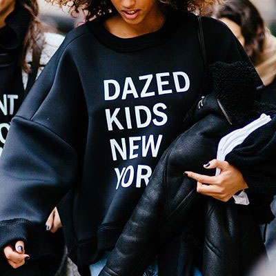 【FEMININE : BLACK LABEL】DAZED KIDS NEW YORK PRINT NEOPRENE SWEATSHIRTS