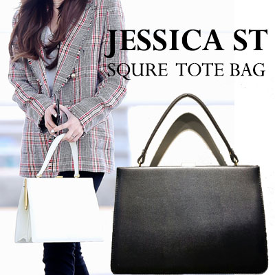 JESSICA STYLE! SQUARE TOTE BAG(BLACK/GREY/RED/CAMEL/WINE)/5COLORS