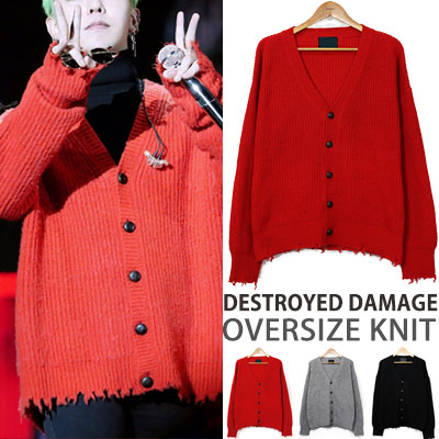 ★38%OFF★CLEARANCE SALE★BIGBANG GD/g-dragon st! DESTROYED DAMAGE OVERSIZE KNIT CARDIGAN/3COLORS