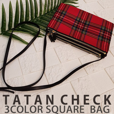 TATAN CHECK 3COLOR SQUARE BAG