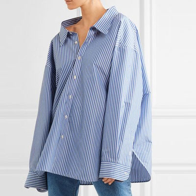 UNIQUE WIDE NECK OVER SIZE STRIPE&WHITE SHIRTS/2COLORS