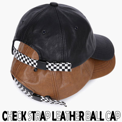 CHECK STRAP LEATHER BALL CAP/2COLORS