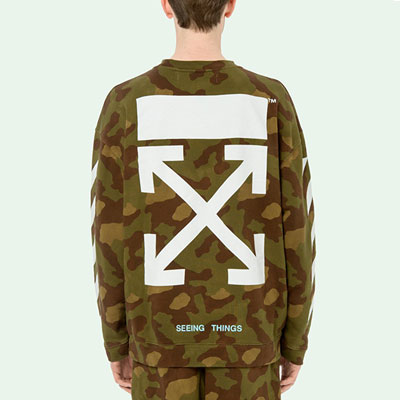 WHITE ARROW PRINT CAMO SWEATSHIRTS