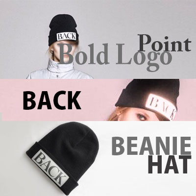 【FEMININE : BLACK LABEL】BOLD LOGO POINT BACK BEANIE HAT