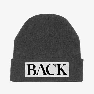 【FEMININE : BLACK LABEL】BOLD LOGO POINT BACK BEANIE HAT